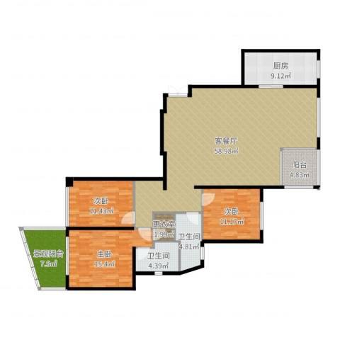 新地中心3室2厅2卫1厨162.00㎡户型图