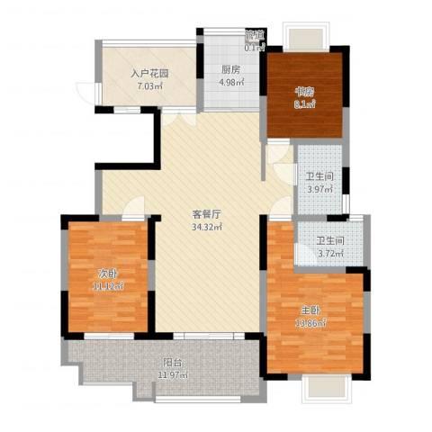 悦达悦珑湾3室2厅2卫1厨124.00㎡户型图