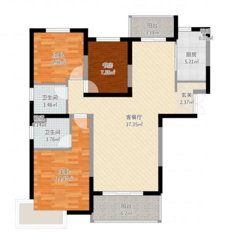 宏润花园3室2厅2卫1厨113.00㎡户型图
