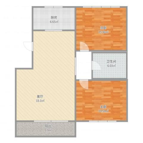 世茂・萨拉曼卡2室1厅1卫1厨109.00㎡户型图