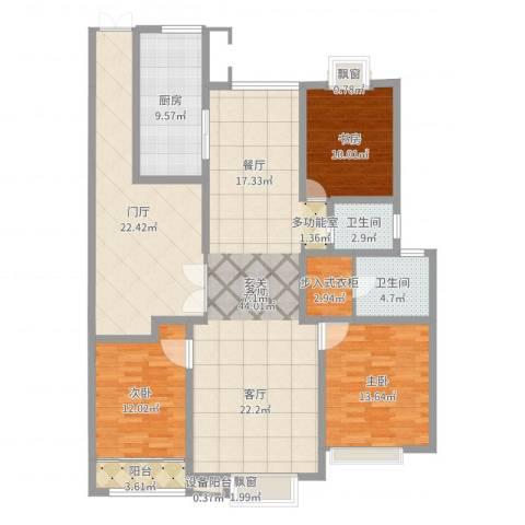 中楠时代花园3室1厅4卫1厨156.00㎡户型图