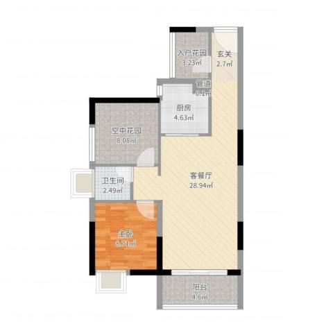 锦地繁花1室2厅1卫1厨87.00㎡户型图