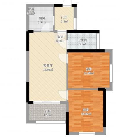万科金域华府二期2室2厅1卫1厨56.31㎡户型图