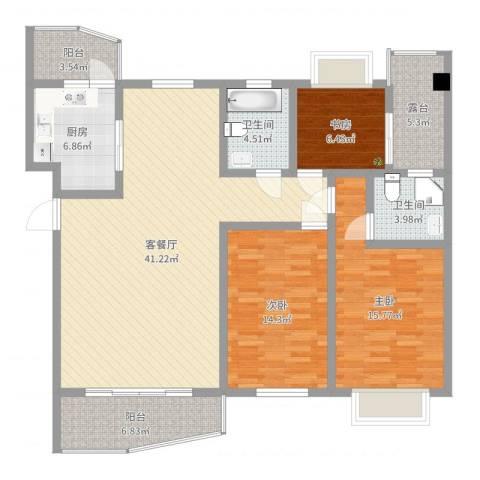 碧海乾图花园3室2厅2卫1厨136.00㎡户型图
