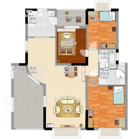 海湾花园天然居3室2厅2卫1厨151.00㎡户型图