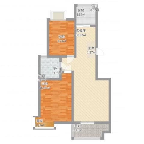 城南都市嘉园二期2室2厅1卫1厨100.00㎡户型图