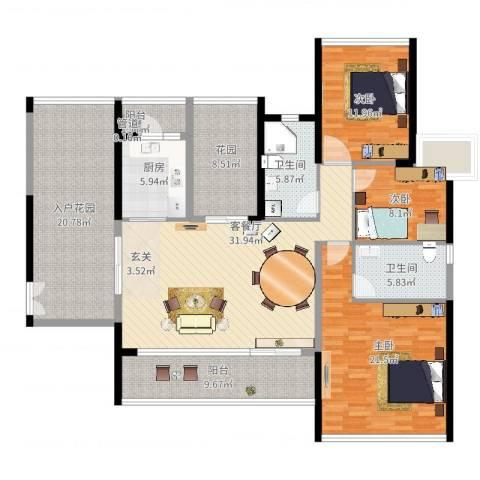 君华新城3室2厅2卫1厨187.00㎡户型图