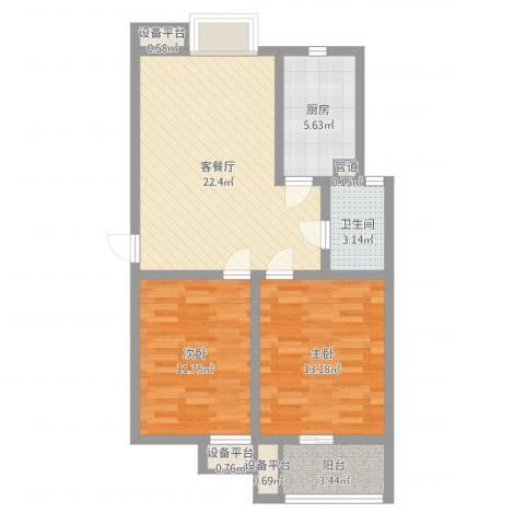 九洲新家园2室2厅1卫1厨77.00㎡户型图