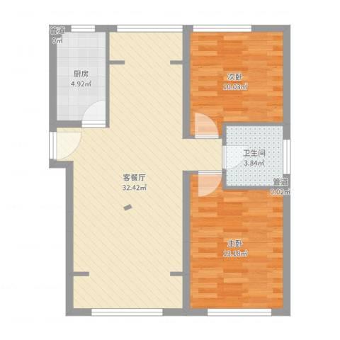 望京花园东区2室2厅1卫1厨64.42㎡户型图