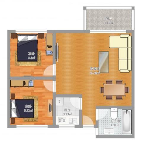 同德花园2室2厅1卫1厨73.00㎡户型图
