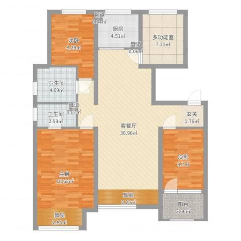 潮白河孔雀城・温莎郡3室2厅2卫1厨120.00㎡户型图