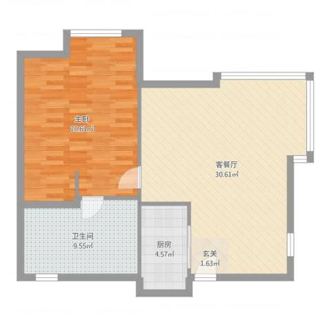 盛世年华1室2厅1卫1厨82.00㎡户型图