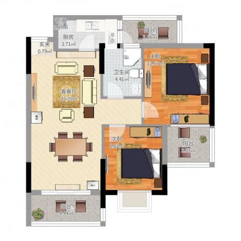 岭南世家二期2室2厅1卫1厨95.00㎡户型图