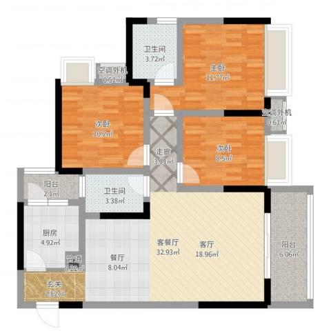 百年佳苑3室2厅2卫1厨106.00㎡户型图