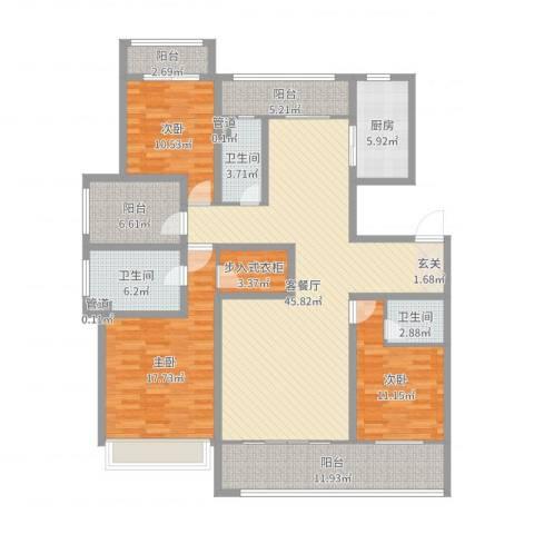 姑苏公馆3室2厅3卫1厨167.00㎡户型图