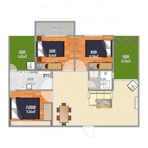 天龙广场3室1厅1卫1厨60.00㎡户型图