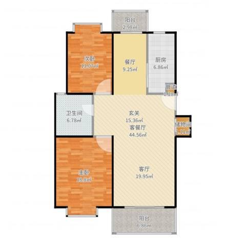 爱盛家园2室2厅1卫1厨135.00㎡户型图