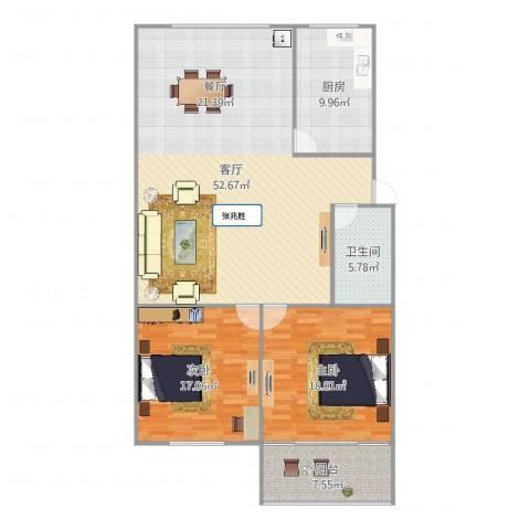 辛甸花园2室1厅1卫1厨139.00㎡户型图