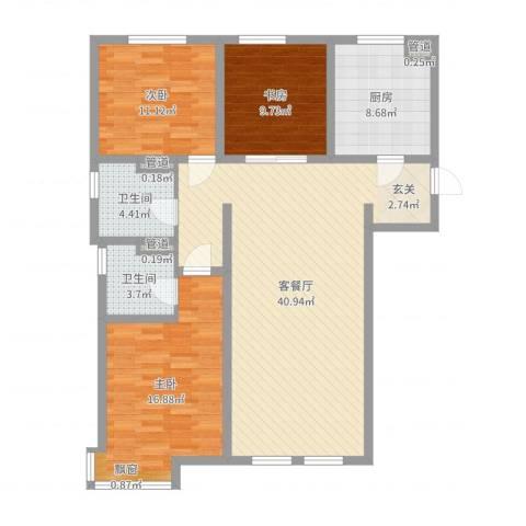 万科仕林苑3室2厅2卫1厨120.00㎡户型图