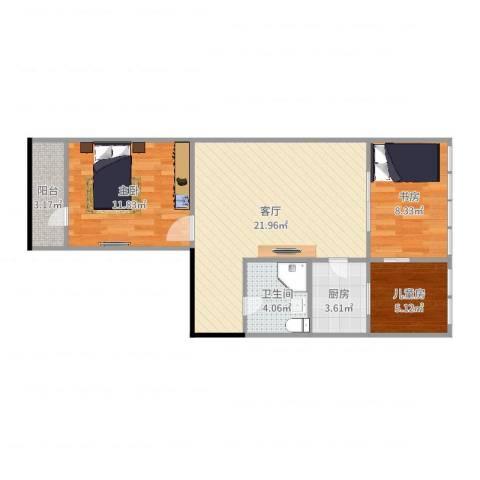 首都机场南路东里3室1厅1卫1厨73.00㎡户型图