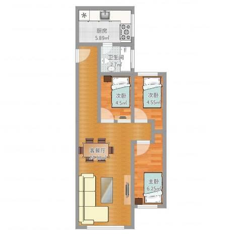 基建新村3室2厅1卫1厨60.00㎡户型图