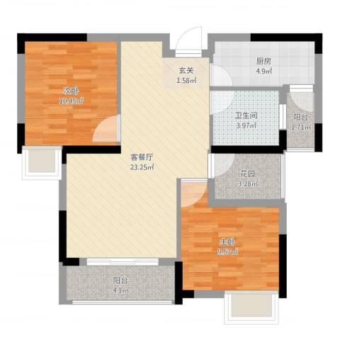 春华星运城2室2厅1卫1厨77.00㎡户型图