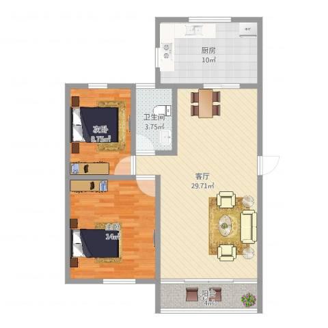 丰润花园2室1厅1卫1厨88.00㎡户型图