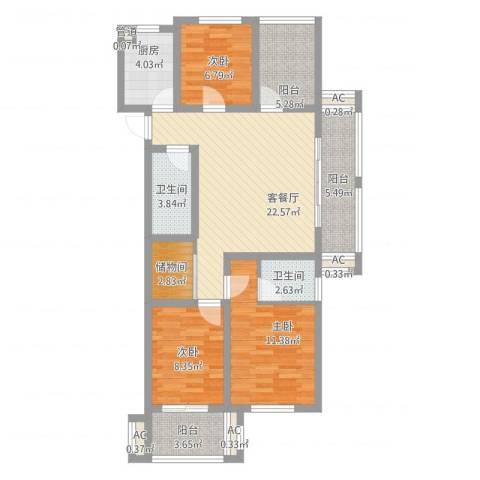 易居公馆3室2厅2卫1厨118.00㎡户型图