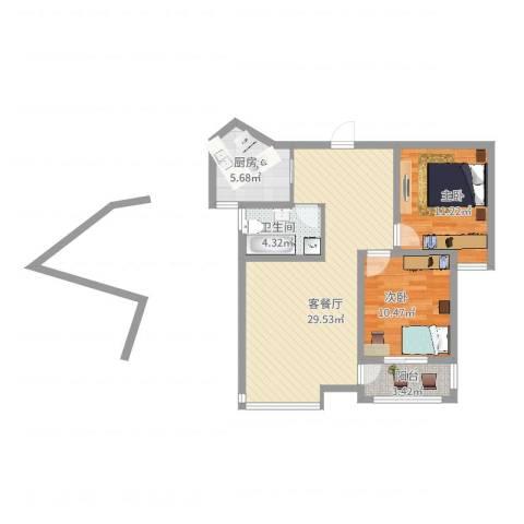 水晶公馆2室2厅1卫1厨93.00㎡户型图