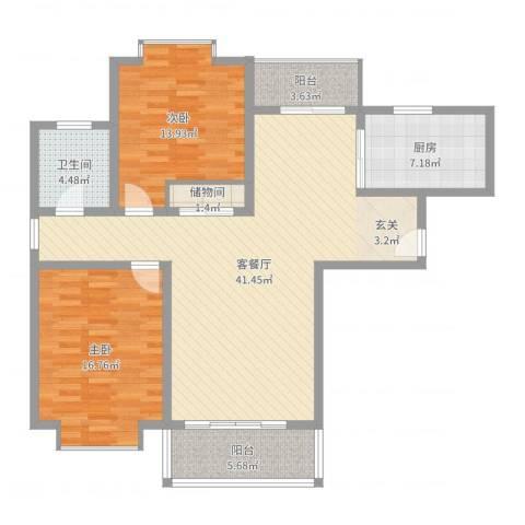 滨江龙居苑2室2厅1卫1厨118.00㎡户型图