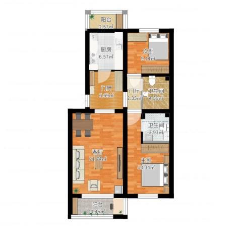 天通苑本四区2室1厅2卫1厨94.00㎡户型图