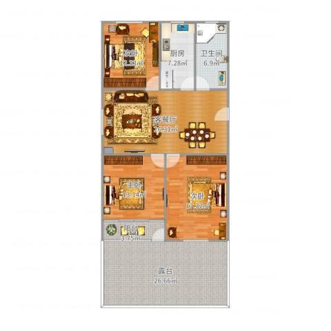 安龙小区3室2厅1卫1厨142.00㎡户型图