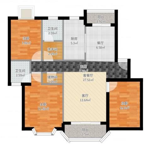 大庆村石油小区3室2厅2卫1厨94.00㎡户型图