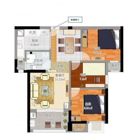 上东曼哈顿3室2厅1卫1厨80.00㎡户型图