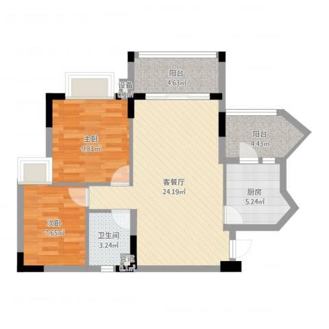 安南丽苑2室2厅1卫1厨74.00㎡户型图