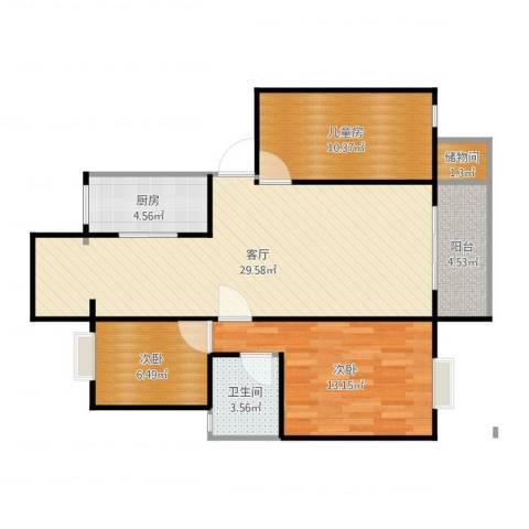 湖畔翠庭3室1厅1卫1厨92.00㎡户型图