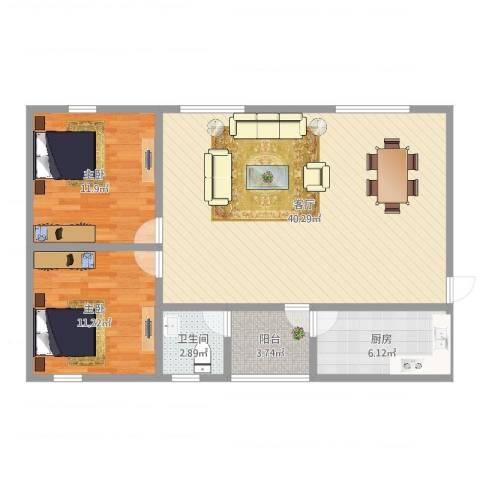 天鑫六运小区2室1厅1卫1厨95.00㎡户型图