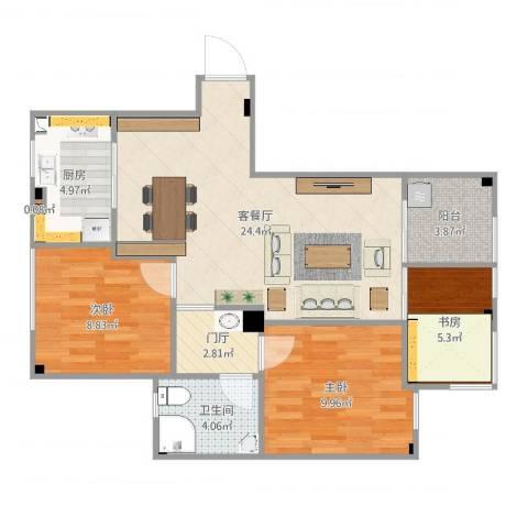 天沁家园3室2厅1卫1厨80.00㎡户型图