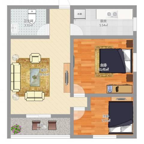 祥辉广场2室1厅1卫1厨62.00㎡户型图
