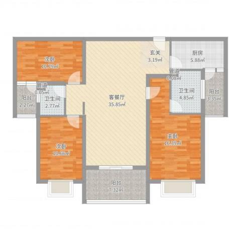 北湖之星3室2厅2卫1厨125.00㎡户型图