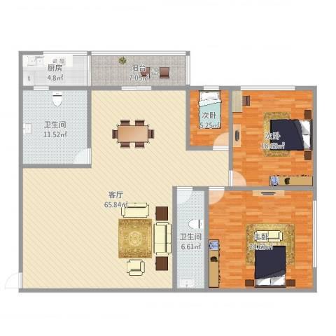 乐景大厦3室1厅2卫1厨180.00㎡户型图
