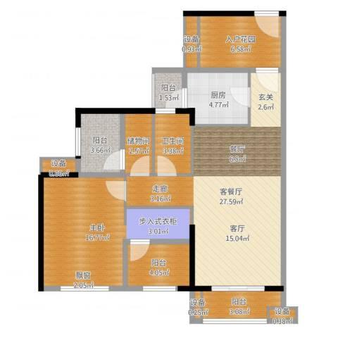 龙光海悦华庭1室2厅1卫1厨95.00㎡户型图