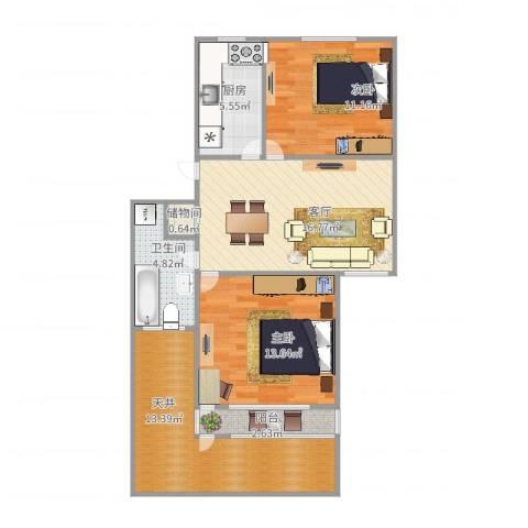 龙柏二村2室1厅1卫1厨93.00㎡户型图