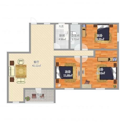大江苑3室1厅1卫1厨124.00㎡户型图