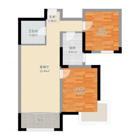 金厦龙第新城2室2厅1卫1厨76.00㎡户型图