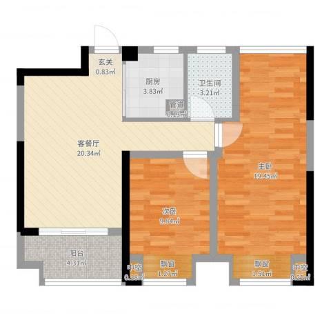 宝能城市广场2室2厅1卫1厨77.00㎡户型图