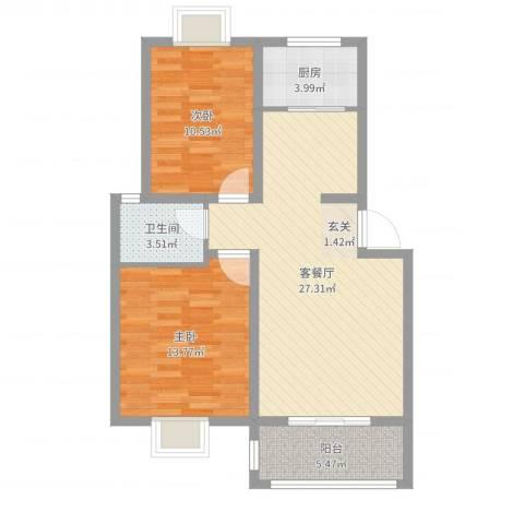 中建・城市花园2室2厅1卫1厨81.00㎡户型图