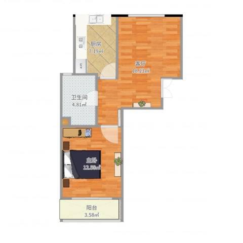 学府华园1室1厅1卫1厨58.00㎡户型图