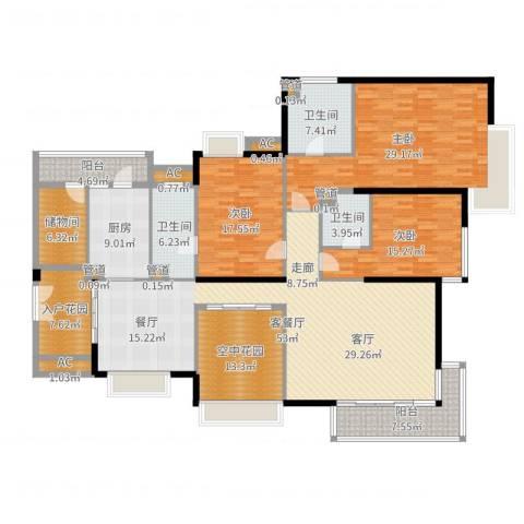 中海银海湾3室2厅3卫1厨230.00㎡户型图
