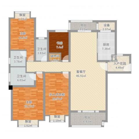 仁恒滨海半岛3室2厅3卫1厨180.00㎡户型图
